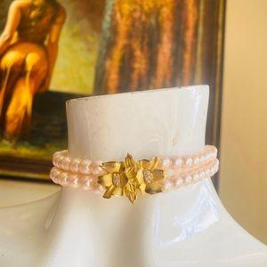 RICHELIEU Pink Pearls Choker Necklace Gold Pendant